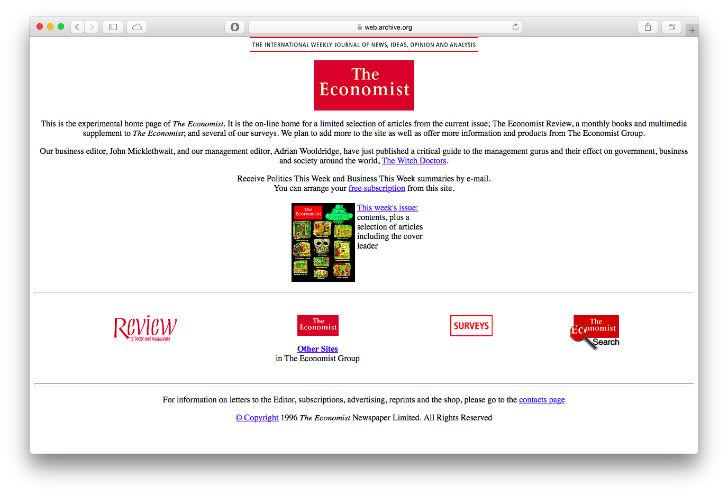 Всемирно известный новостной журнал The Economist был основан в 1843 году. Сайт журнала вышел в 1994 году и стоил 120 долларов.