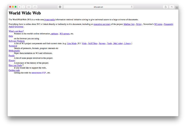 Вот так выглядел первый в мире сайт Европейской организации по ядерным исследованиям, где объяснялось, что это такое и как им пользоваться.