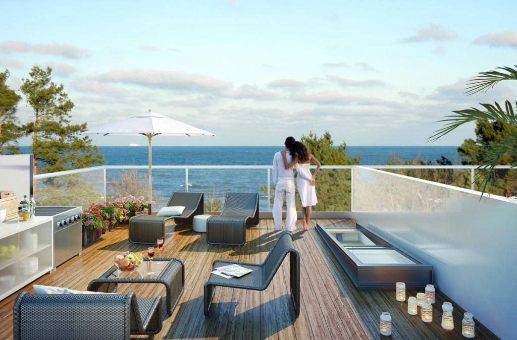 Из апартаментов с выходом на пляж открывается потрясающий вид на Балтийское море.