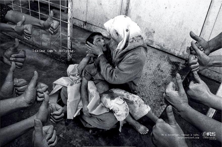 Социальная реклама от сингапурского агентства Publicis: «Лайки не помогают. Стань волонтером. Измени жизнь».