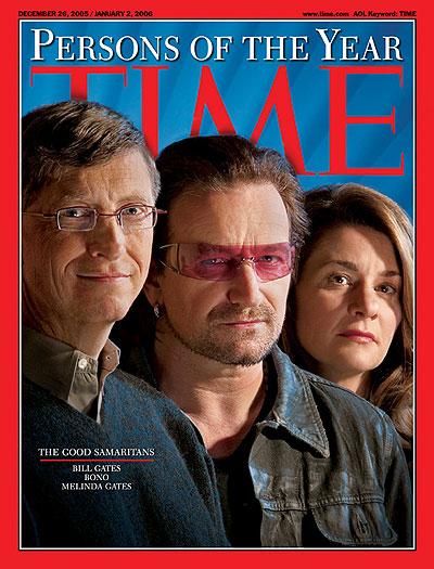 11. Боно, Билл и Мелинда Гейтс были названы людьми года в 2005, за их благотворительную деятельность.