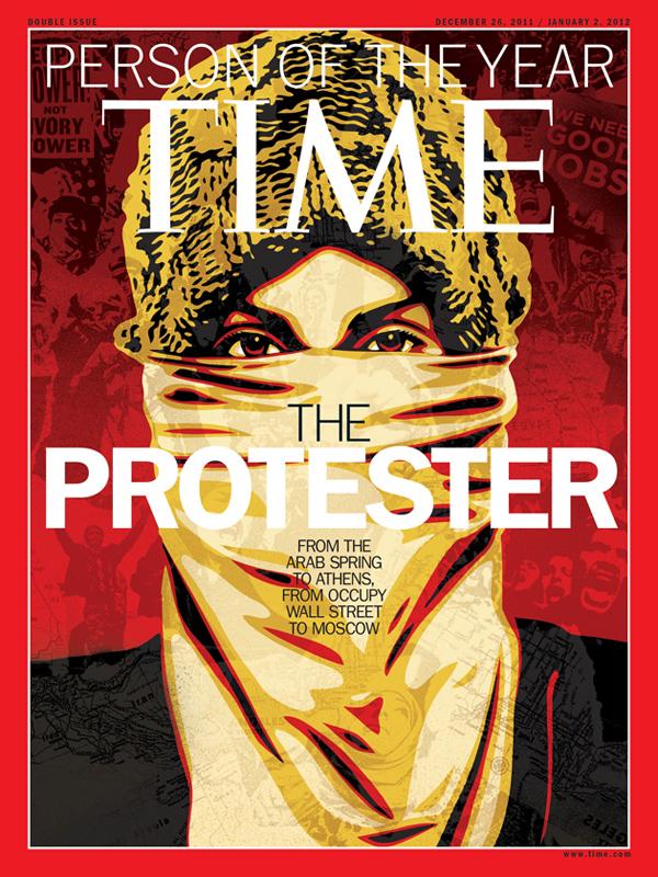 5. «Протестующий» был выбран журналом в качестве Человека года в 2011 году. Это собирательный образ участников Арабской весны, а также акций протеста в Греции, Индии, России и других странах.