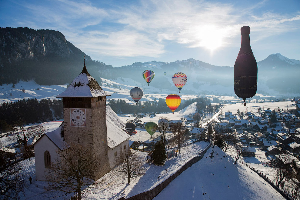 Как проxодил фестиваль воздушных шаров в Швейцарии