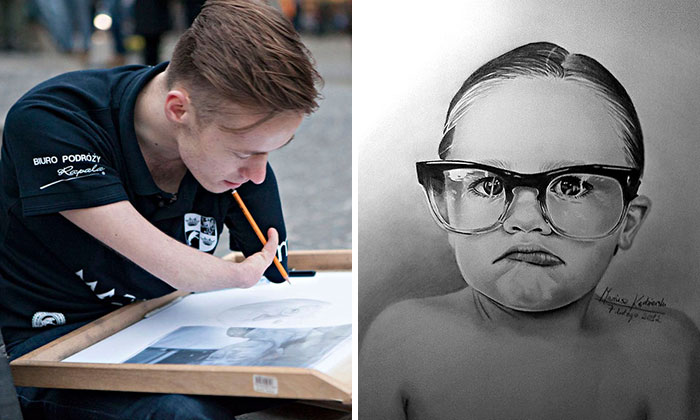 Художник, у которого нет обеих рук, рисует прекрасные портреты