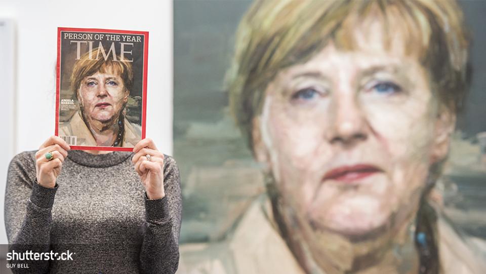 Этот портрет Ангелы Меркель украсил обложку журнала Time, когда немецкий канцлер стала человеком года.
