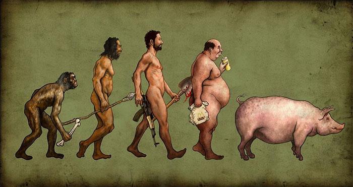 11 сатирических карикатур об эволюции