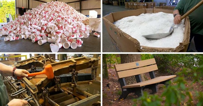 Как фастфуд превращает использованную посуду в парковые скамейки
