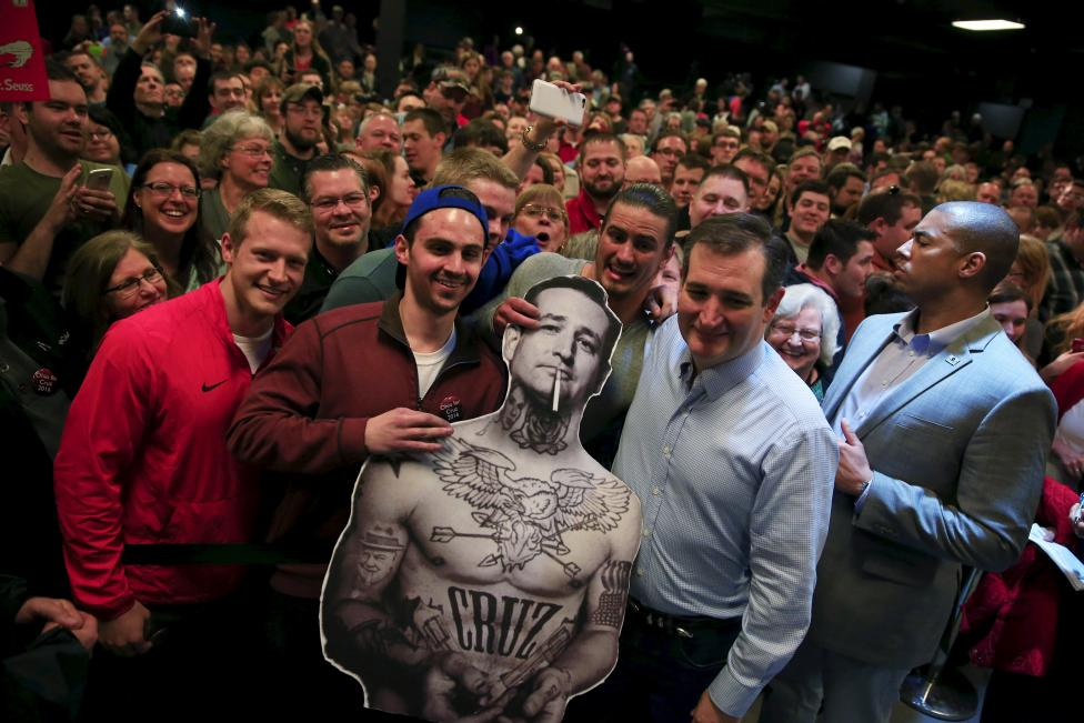 Republican U.S. presidential candidate Sen. Ted Cruz (R-TX) poses for a picture with supporters during a campaign rally at the Northland Performing Arts Center in Columbus, Ohio