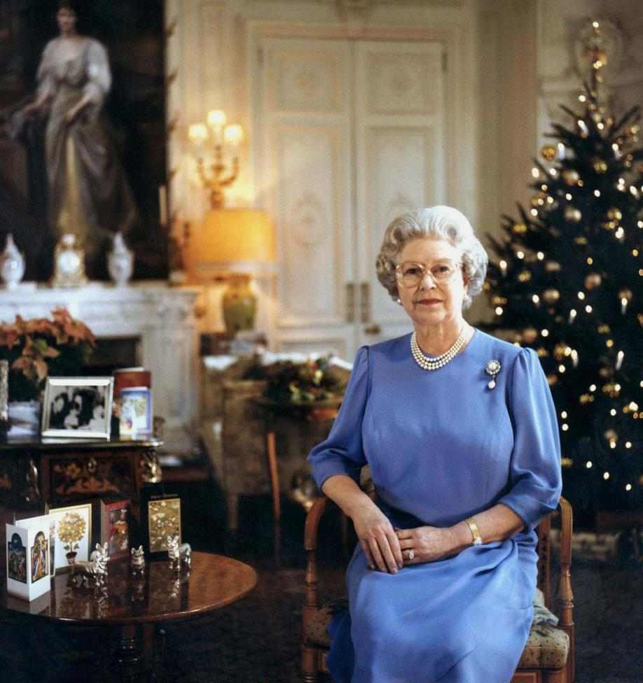 Britain's Queen Elizabeth II records her televised Christmas message broadcast December 25. The Quee..