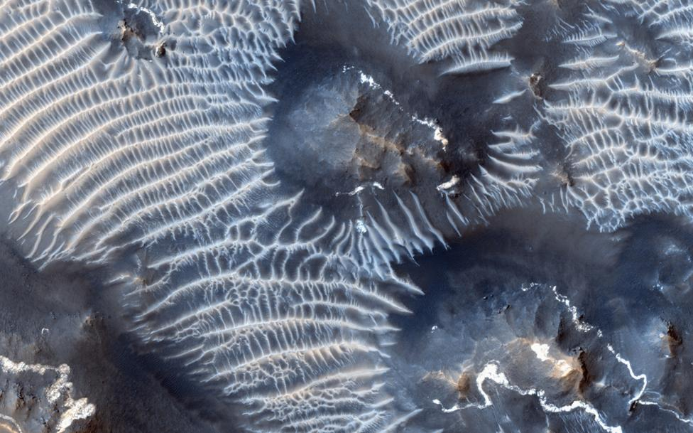 A view of the Noctis Labyrinthus region of Mars is seen in this NASA handout picture