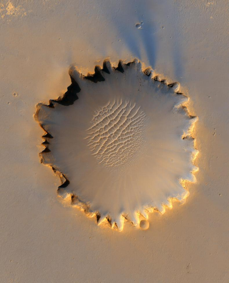 Mars' Victoria Crater at Meridiani Planum seen in this image taken by NASA's High Resolution Imaging Science Experiment