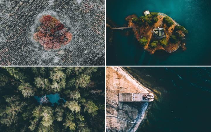 Смена времён года в Швеции с высоты птичьего полёта