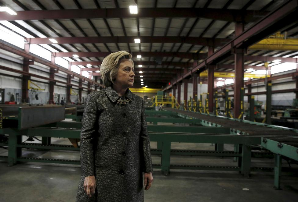 Democratic U.S. Presidential candidate Hillary Clinton tours Munster Steel in Hammond