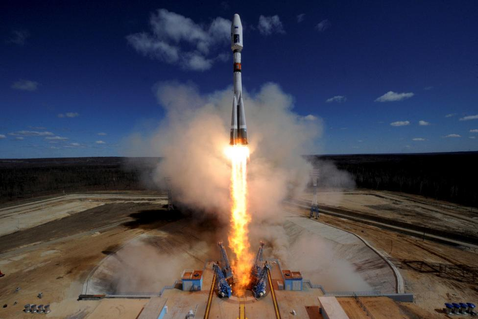 A Russian Soyuz 2.1A rocket carrying Lomonosov, Aist-2D and SamSat-218 satellites lifts off from the launch pad at the new Vostochny cosmodrome outside the city of Uglegorsk, about 200 kms from the city of Blagoveshchensk