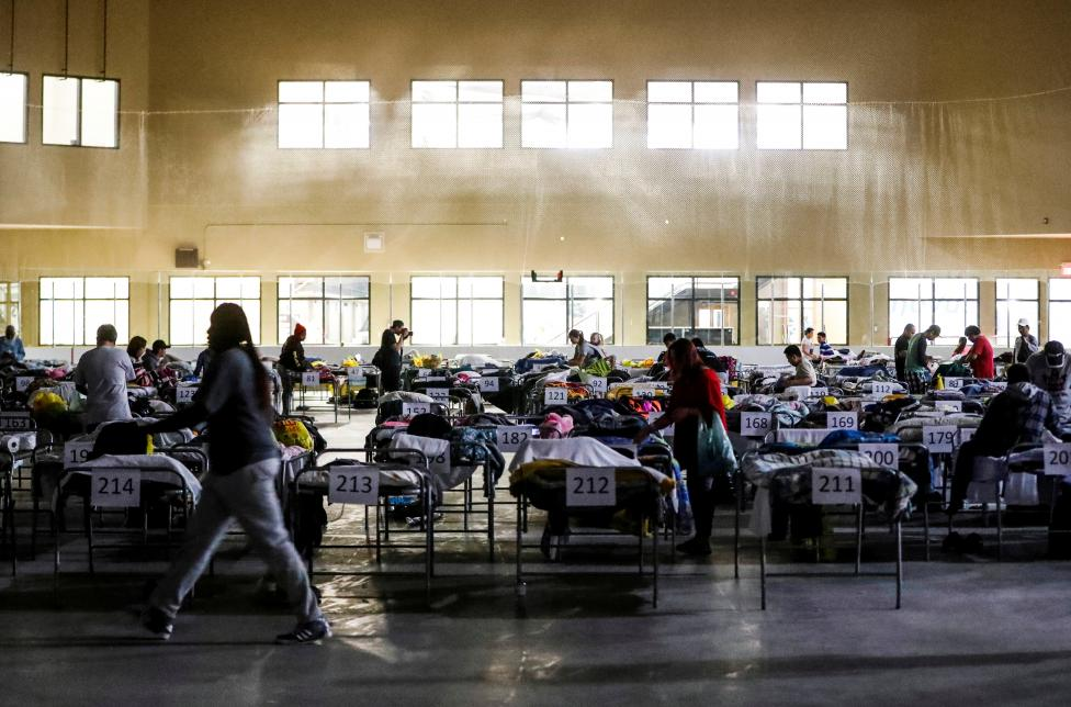 "Evacuees from the Fort McMurray wildfires use the sleeping room at the ""Bold Center"" in Lac la Biche"