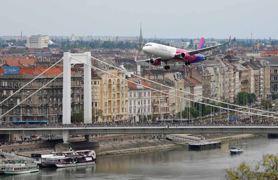 Wizz Air's Airbus A-321 flying along the Danube river during an air show in Budapest