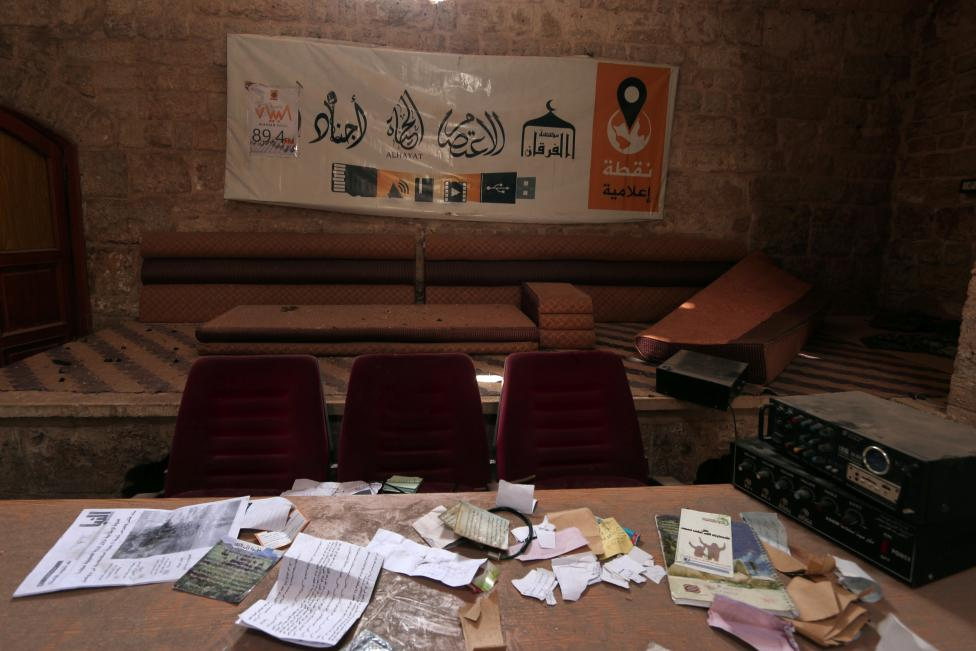 A view shows part of a media centre that belonged to Islamic State militants inside an ancient Hammam in Manbij, Aleppo Governorate