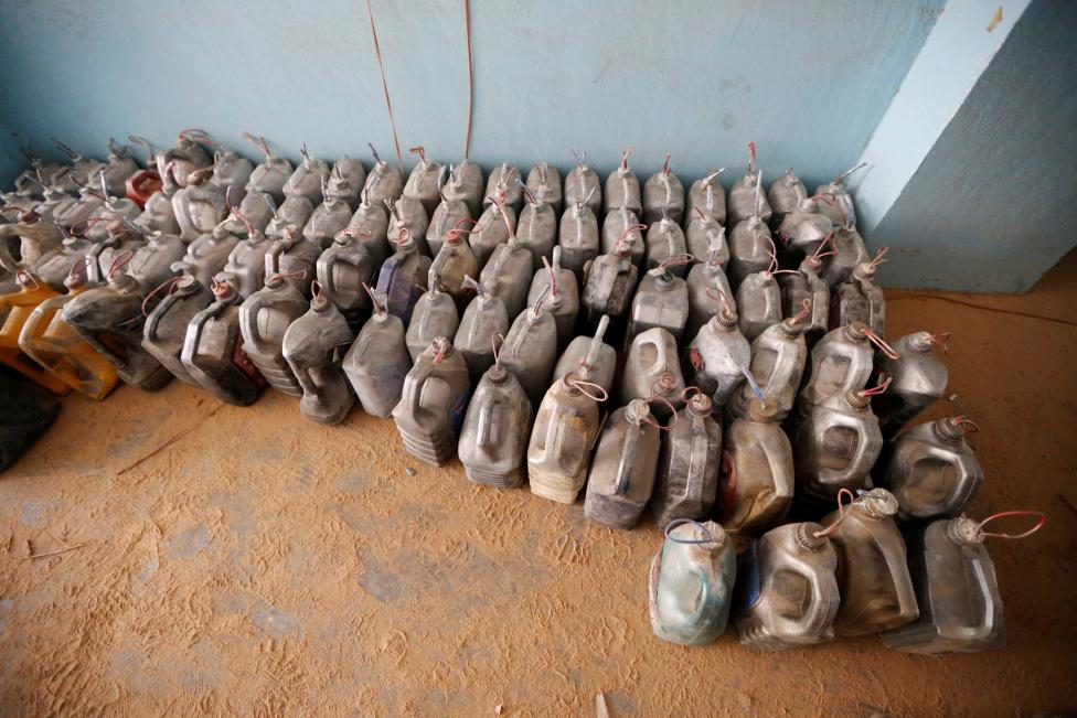 Explosives left behind by Islamic State militants are seen at a school, following clashes in Falluja, Iraq