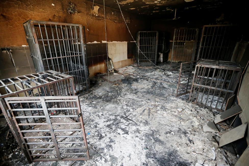 Burnt out prison cells belonging to Islamic State militants are seen in Falluja after government forces recaptured the city from Islamic State militants, Iraq