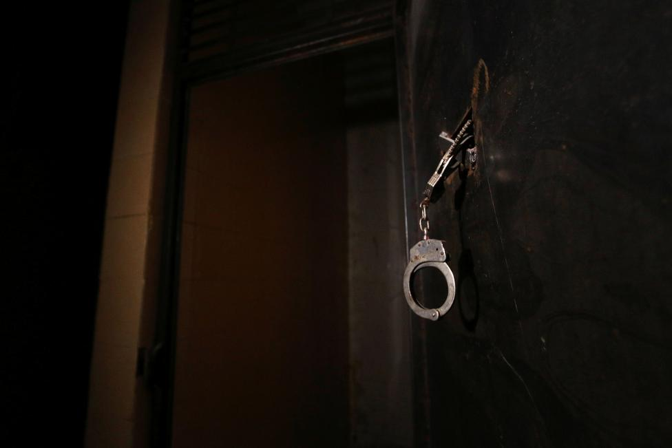 Handcuffs are pictured inside a prison, which according to Syria Democratic Forces (SDF) fighters belonged to Islamic State militants, in Manbij, Aleppo Governorate, Syria