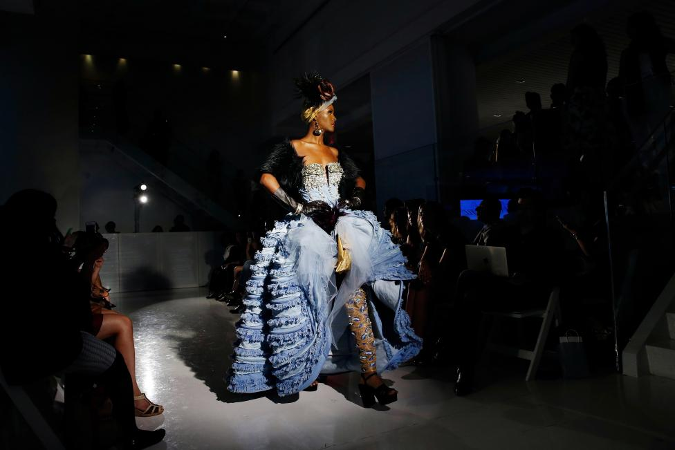 A model presents a creation from the Marlene Spring/Summer 2017 collection during New York Fashion Week in the Manhattan borough of New York