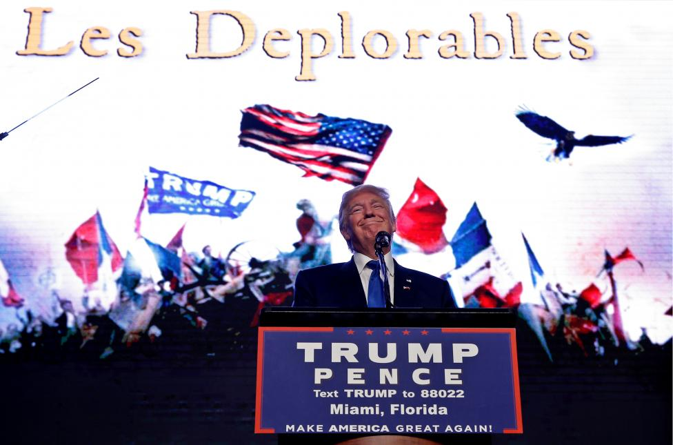 Republican presidential nominee Donald Trump appears at a campaign rally in Miami