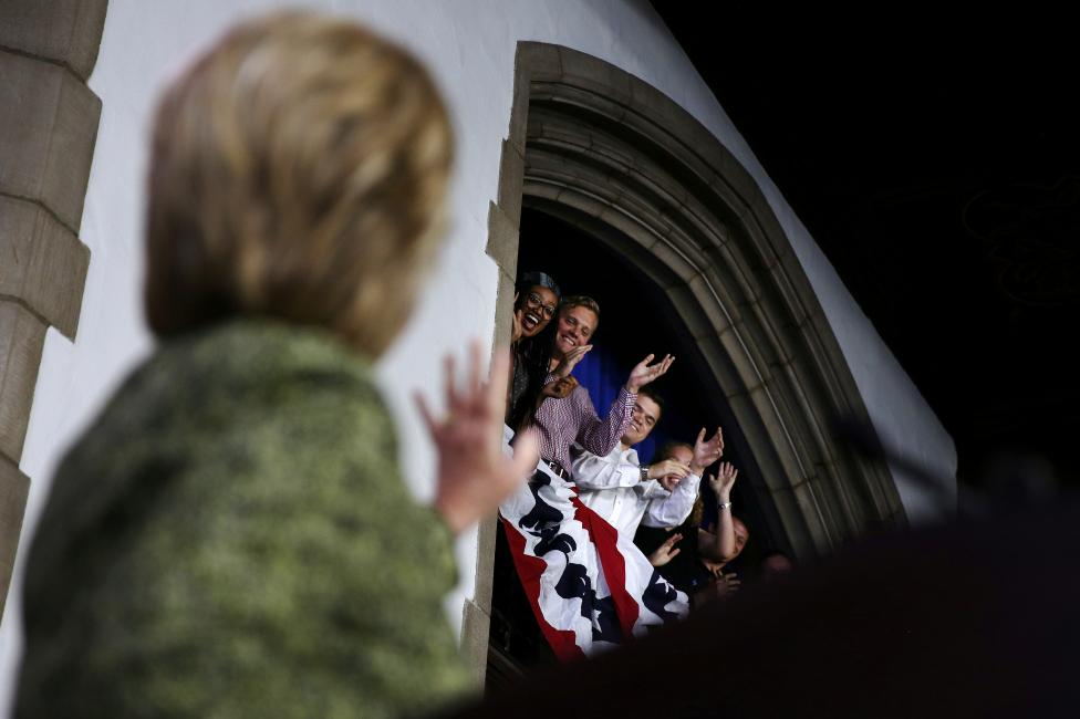 U.S. Democratic presidential candidate Hillary Clinton waves as she arrives to speak at Temple University in Philadelphia