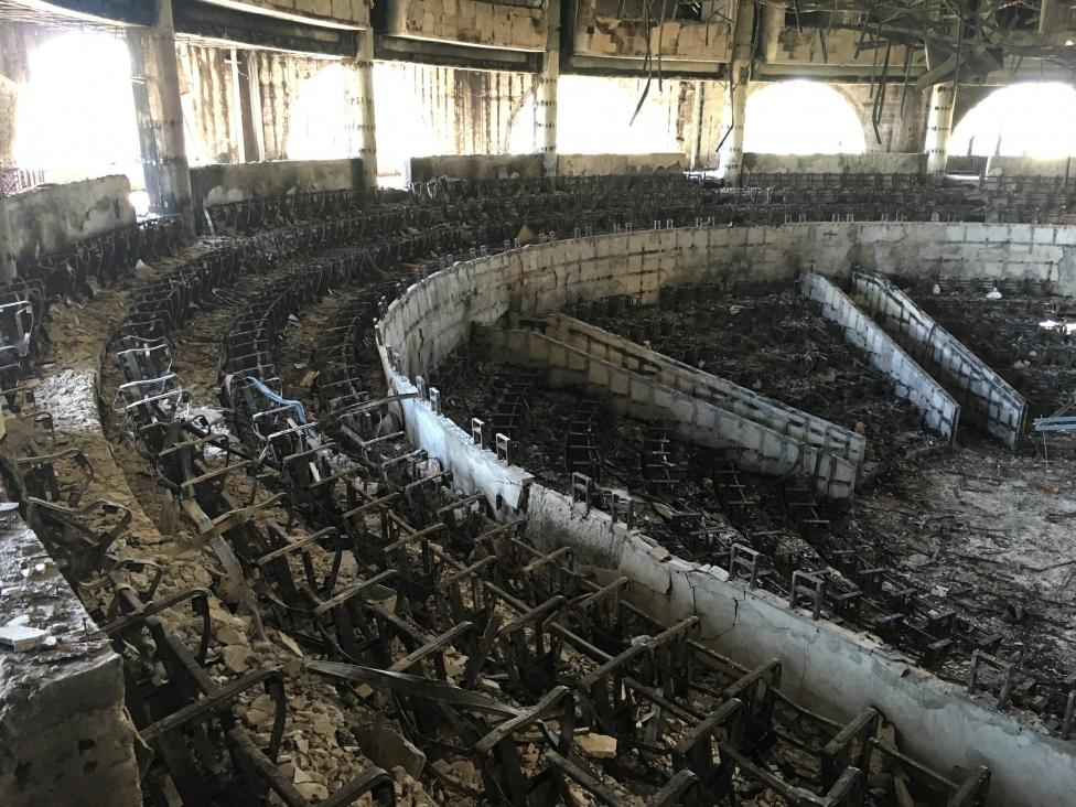 The charred interior of the parliament is seen after it was burned in post-election protests in Libreville