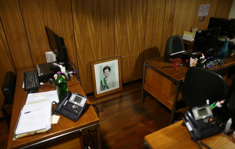 An official photograph of former president Dilma Rousseff is seen in an office inside the Presidential Palace after the final session of voting on Rousseff's impeachment trial in Brasilia