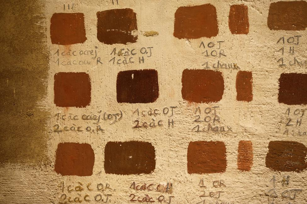 Colour test are seen on a wall of the Chateau de Guedelon near Treigny