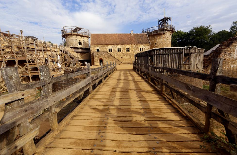 A view of the construction site of the Chateau de Guedelon near Treigny in the Burgundy region of France