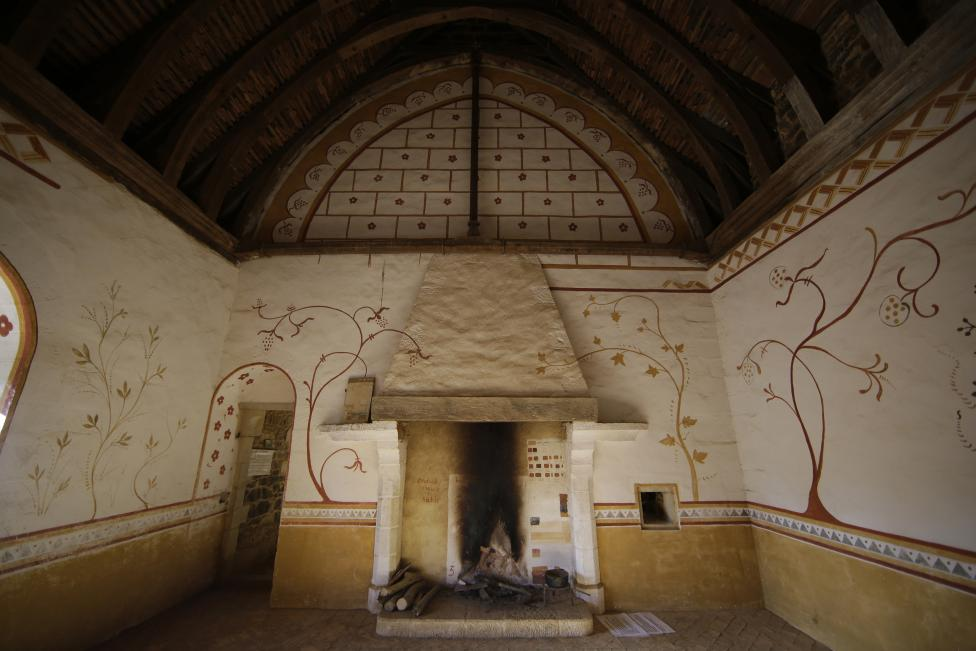 View of the castle bedroom at the construction site of the Chateau de Guedelon near Treigny