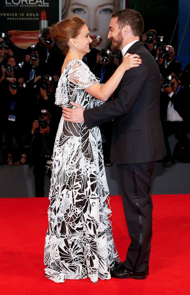 """Director Pablo Larrain poses with actress Natalie Portman as they attend the red carpet for the movie """"Jackie"""" at the 73rd Venice Film Festival in Venice"""