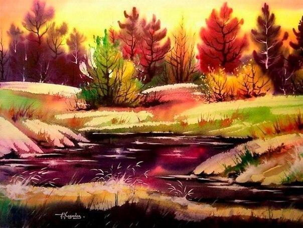 Прекрасные пейзажи написанные акварельными красками