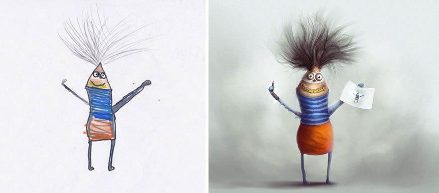 Разные художники «оживили» детские рисунки, каждый – в своём стиле