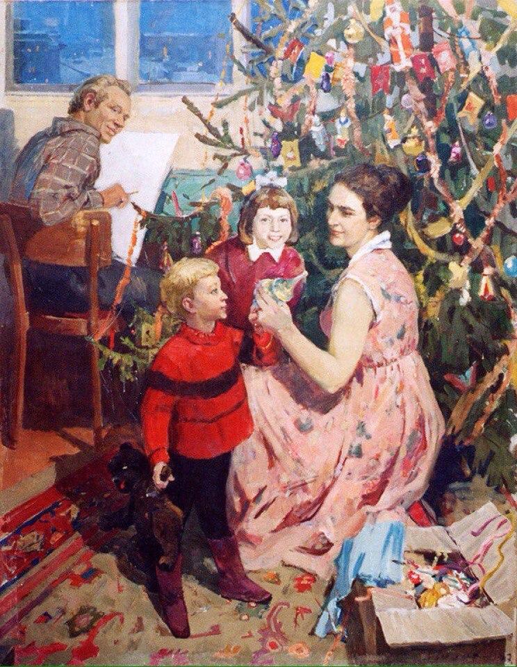 Новогодний антураж в картинах советских художников