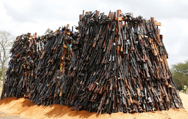 An assortment of 5250 illicit firearms and small weapons, recovered during various security operations is arranged in different stock-piles before its destruction in Ngong hills near Kenya's capital Nairobi, November 15, 2016. REUTERS/Thomas Mukoya