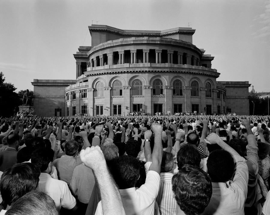 ARMENIA. Erevan. 1988. Demonstration against central power of Moscow. Near Opera house.