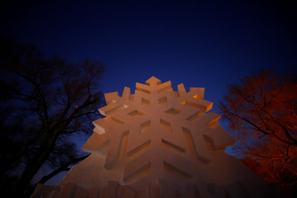 A snow sculpture is seen. REUTERS/Aly Song