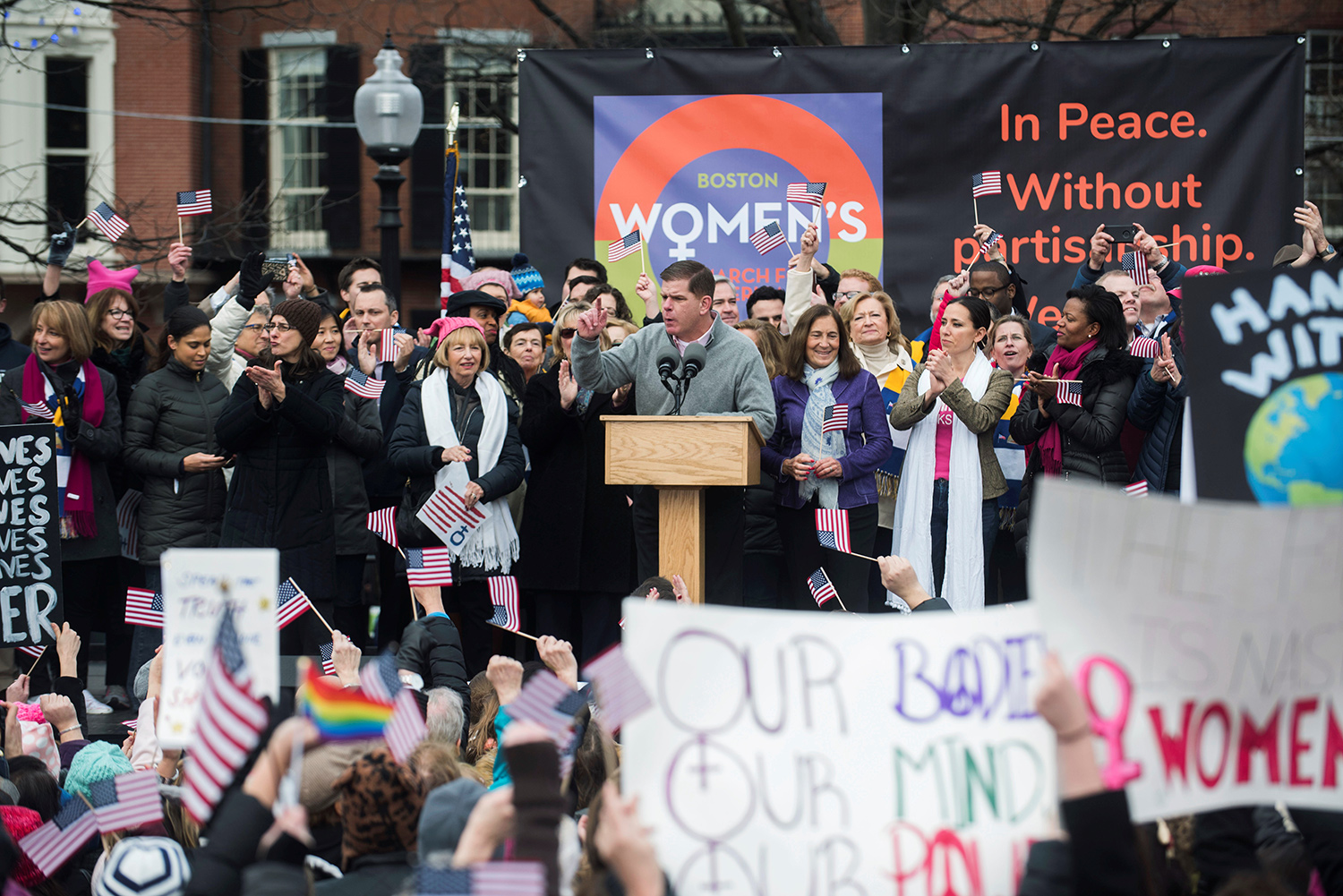 Boston Mayor Martin J. Walsh speaks to the crowd at the Boston Women's March for America in Boston, Massachusetts, U.S., January 21, 2017.     REUTERS/Sam Goresh - RTSWQEQ