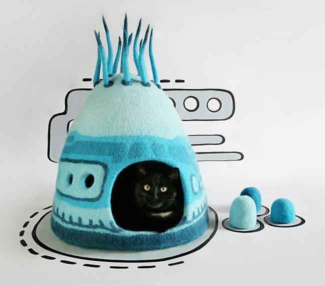 Уютные домики для представителей семейства кошачьих от Yuliya Kosata