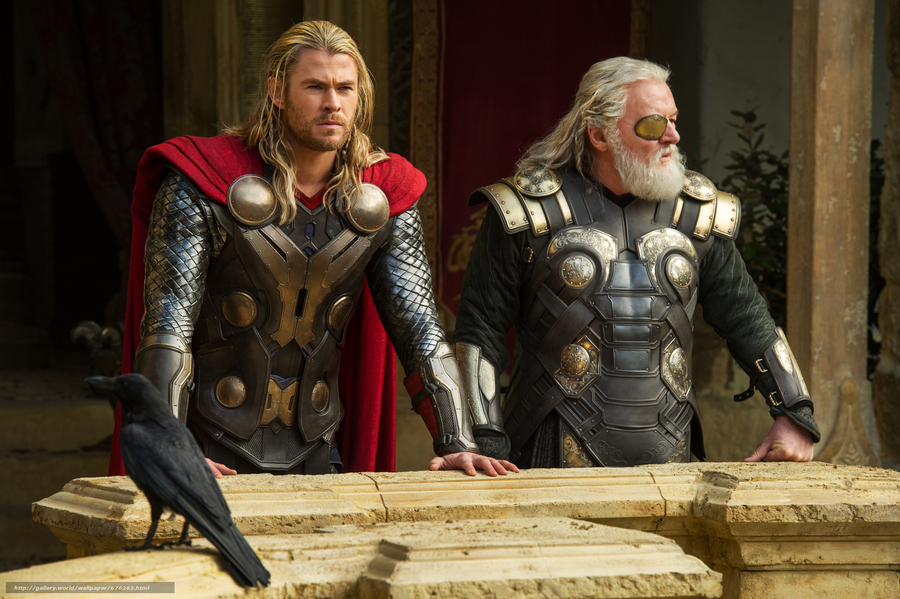 """Marvel's Thor: The Dark World""..L to R: Thor (Chris Hemsworth) and Odin (Anthony Hopkins)..Ph: Jay Maidment..© 2013 MVLFFLLC. TM & © 2013 Marvel. All Rights Reserved."