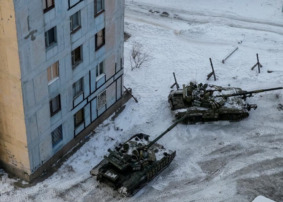 Tanks are seen in the government-held industrial town of Avdiyivka