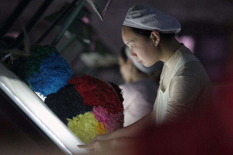 Текстильная фабрика в Сянъяне в провинции Хубэй.