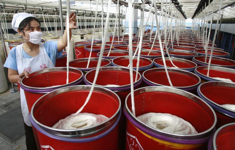 Текстильная фабрика в Суйнине в провинции Сычуань.