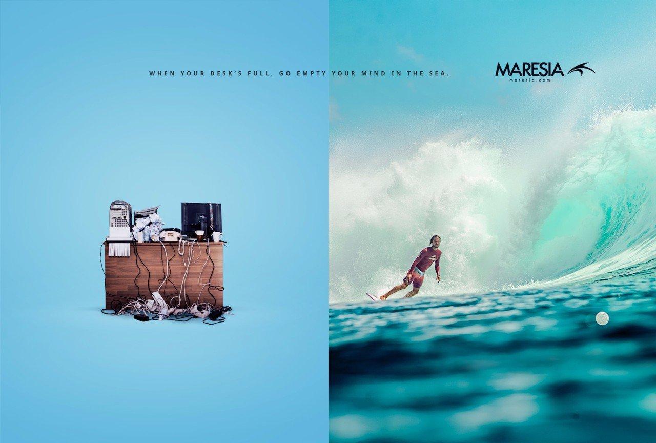 Реклама одежды для серфинга: «Убеги от рутины»