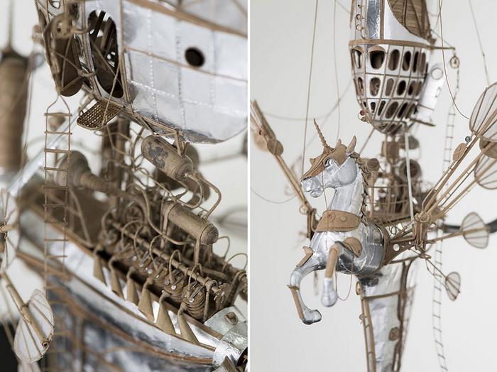 Стимпанк-модели дирижаблей и аэропланов из картона