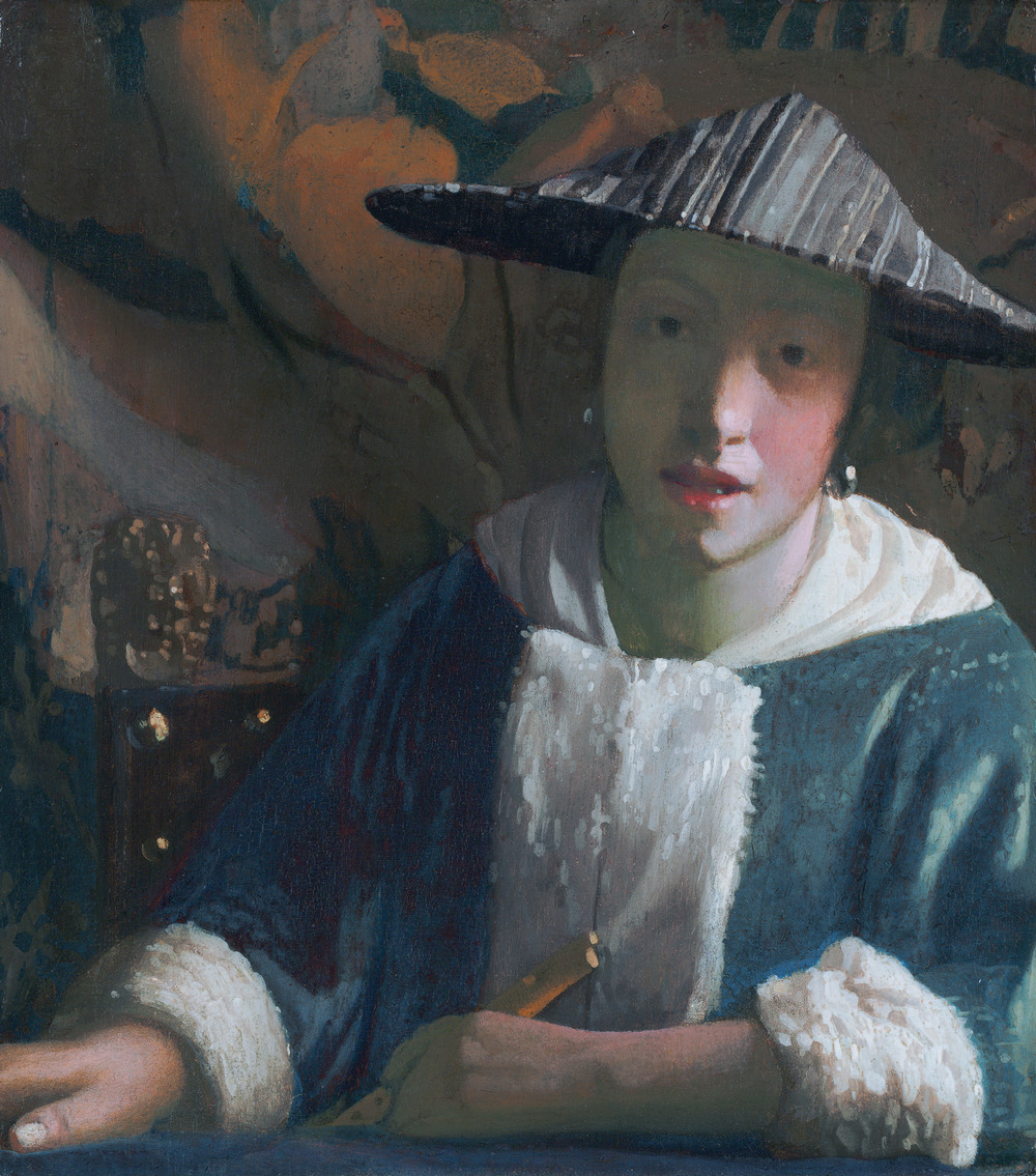 Girl with a flute, attributed to Johannes Vermeer