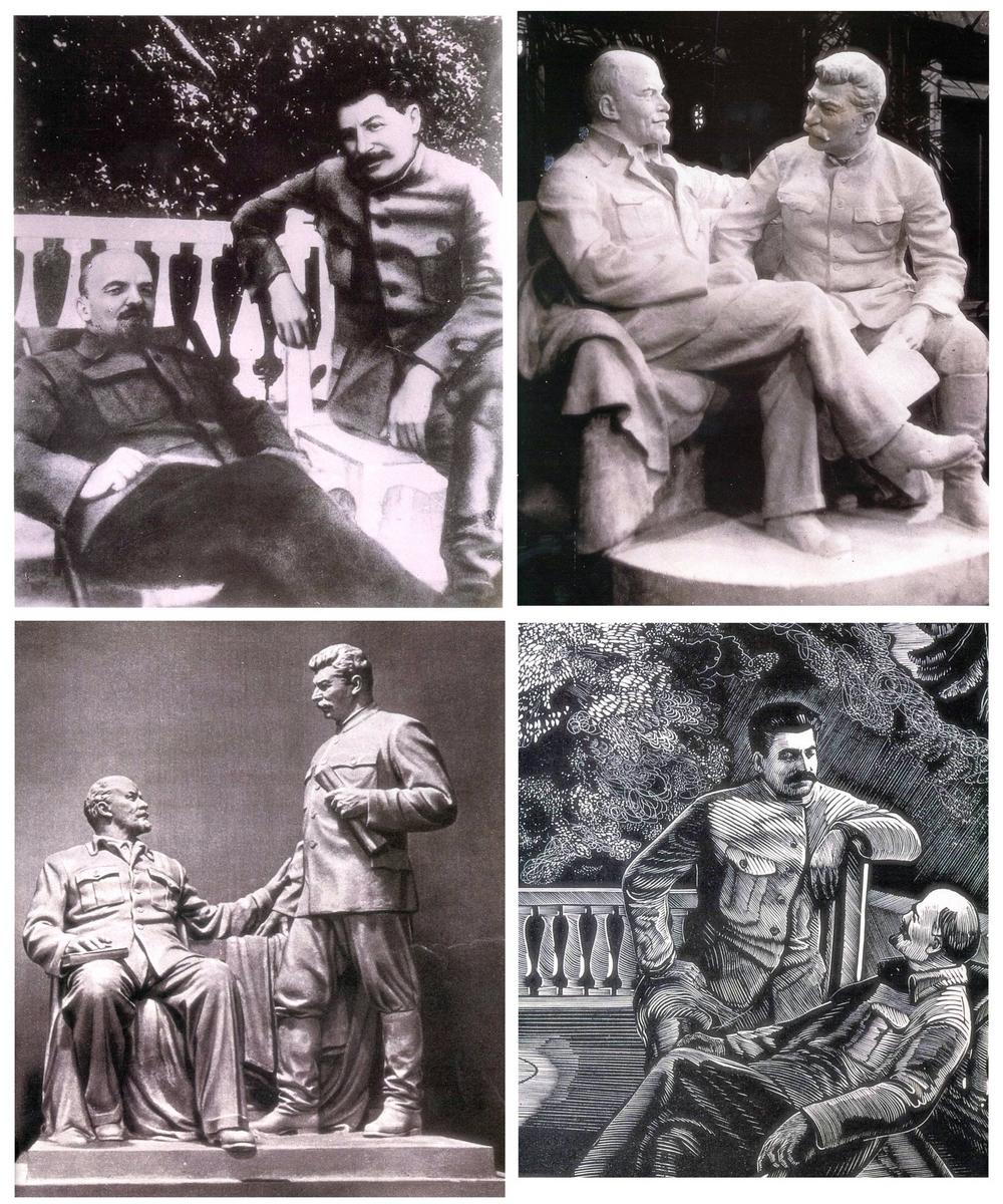 С середины 1930-х годов над возвеличиванием личности Сталина трудилась огромная пропагандистская машина. Фотография в левом верхнем углу «Ленин и Сталин в Горках» (1922 год) – подделка. Её создали, чтобы показать трудящимся близкую дружбу Сталина с Лениным, когда здоровье Ульянова ухудшилось, и пришла пора выбирать преемника. Трудящиеся поверили. По мотивам этой фотографии в 1938 году появилась скульптура (вверху справа) с сияющими вождями. В 1936 году по тому же мотиву художник П. Староносов создал гравюру, где Сталин выглядит исполином на фоне Ленина (внизу справа). А в 1949 году для выставки «Иосиф Виссарионович Сталин в изобразительном искусстве» В. Пинчук создал скульптуру «В. И. Ленин и И. В. Сталин в Горках».