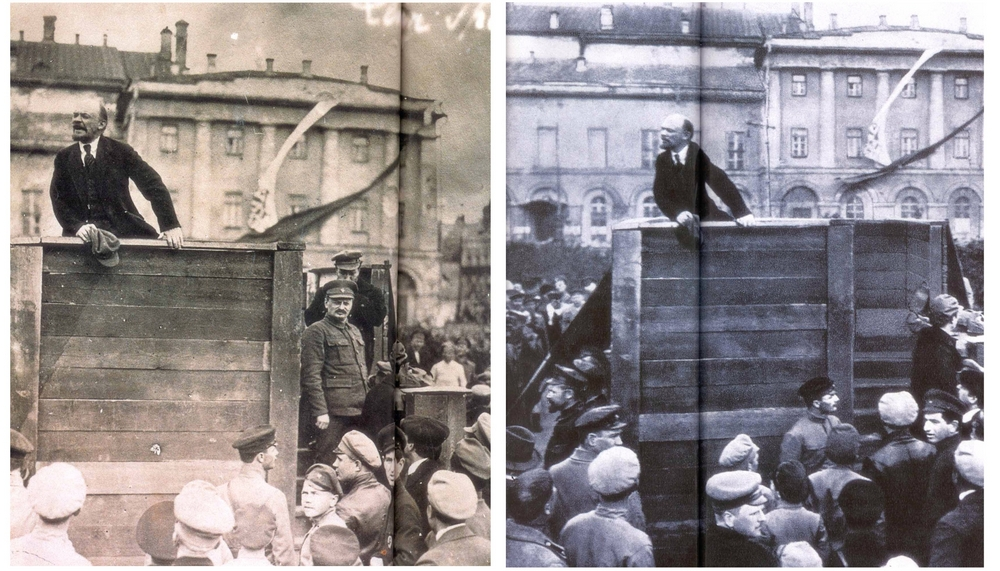 Возле Большого театра в мае 1920 года. Ленин выступает с речью, а на ступенях справа стоит Троцкий, за которым частично виден Каменев. Фальсификация этой фотографии – один из первых и, безусловно, самый известный пример фоторетуши сталинской эпохи. Ещё при жизни Ленина снимок стал культовым, но исключённый из большевистской партии Троцкий и открыто критиковавший Сталина Каменев исчезли с этого кадра и не появлялись даже при Горбачёве.
